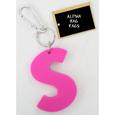 S Pink Alpha Bag Tag