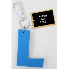 L Blue Alpha Bag Tag