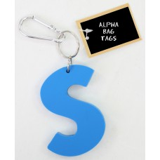 S Blue Alpha Bag Tag